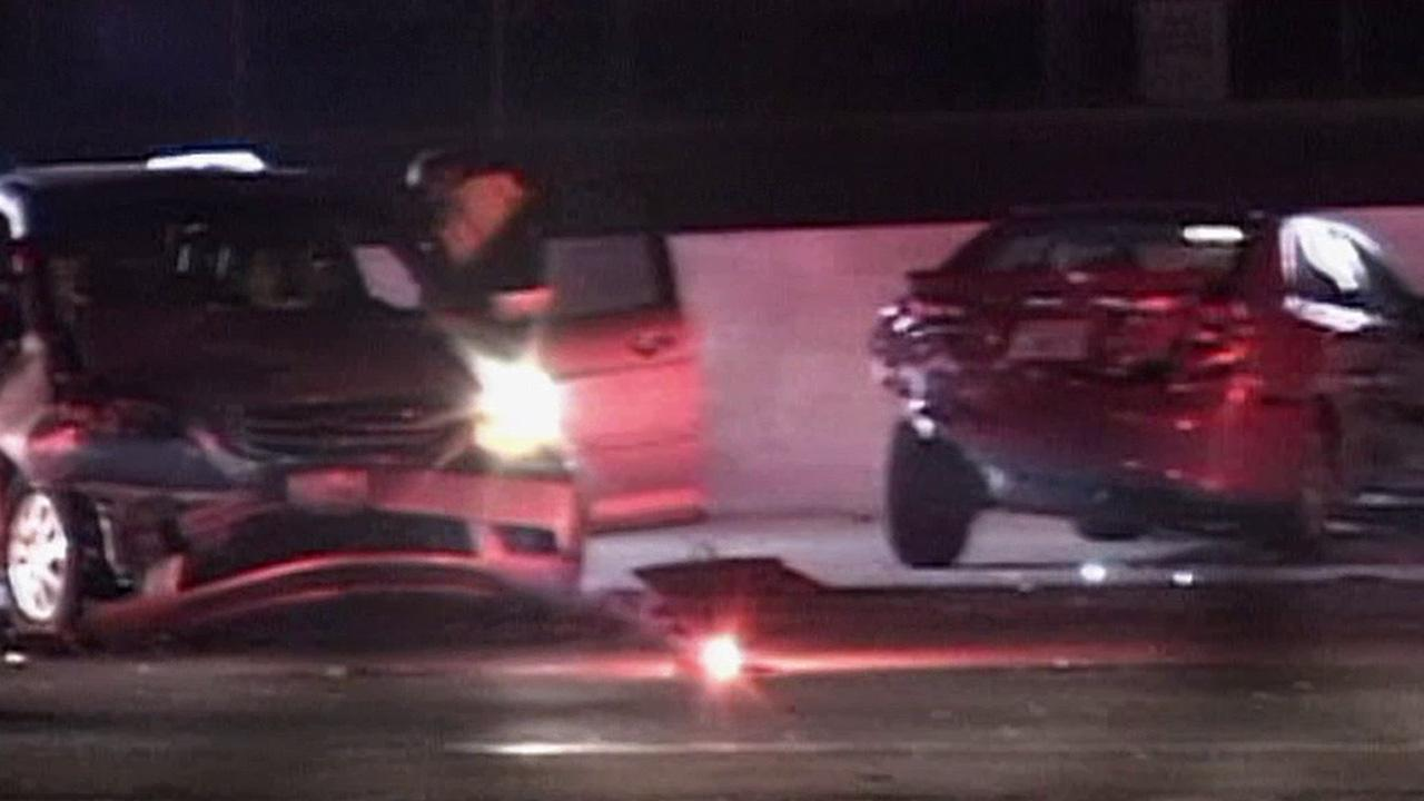 Cars are seen following a mult-vehicle crash on the 91 Freeway in Compton on Sunday, Jan. 13, 2013.