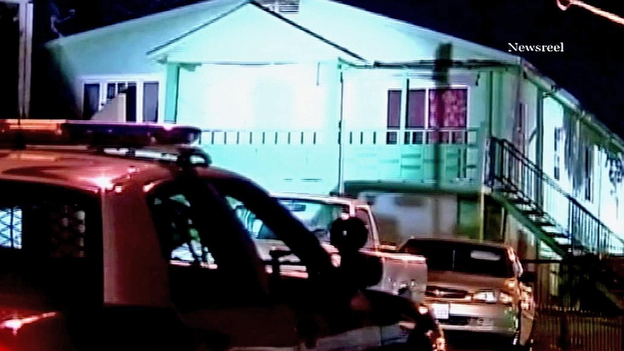 A man was barricaded in his East Los Angeles home on Wednesday, Jan. 16, 2013.