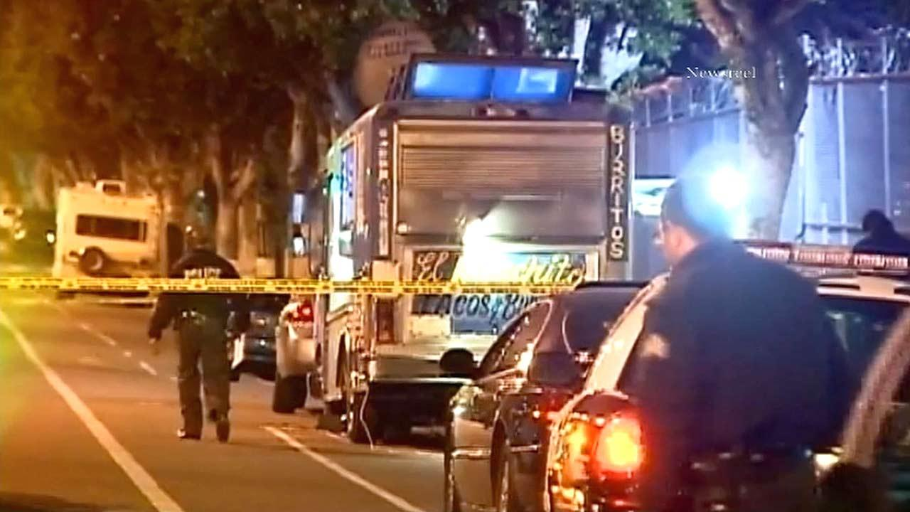 Police are investigating the killing of a man who was shot while purchasing food from a taco truck in El Sereno on Saturday, Jan. 19, 2013.