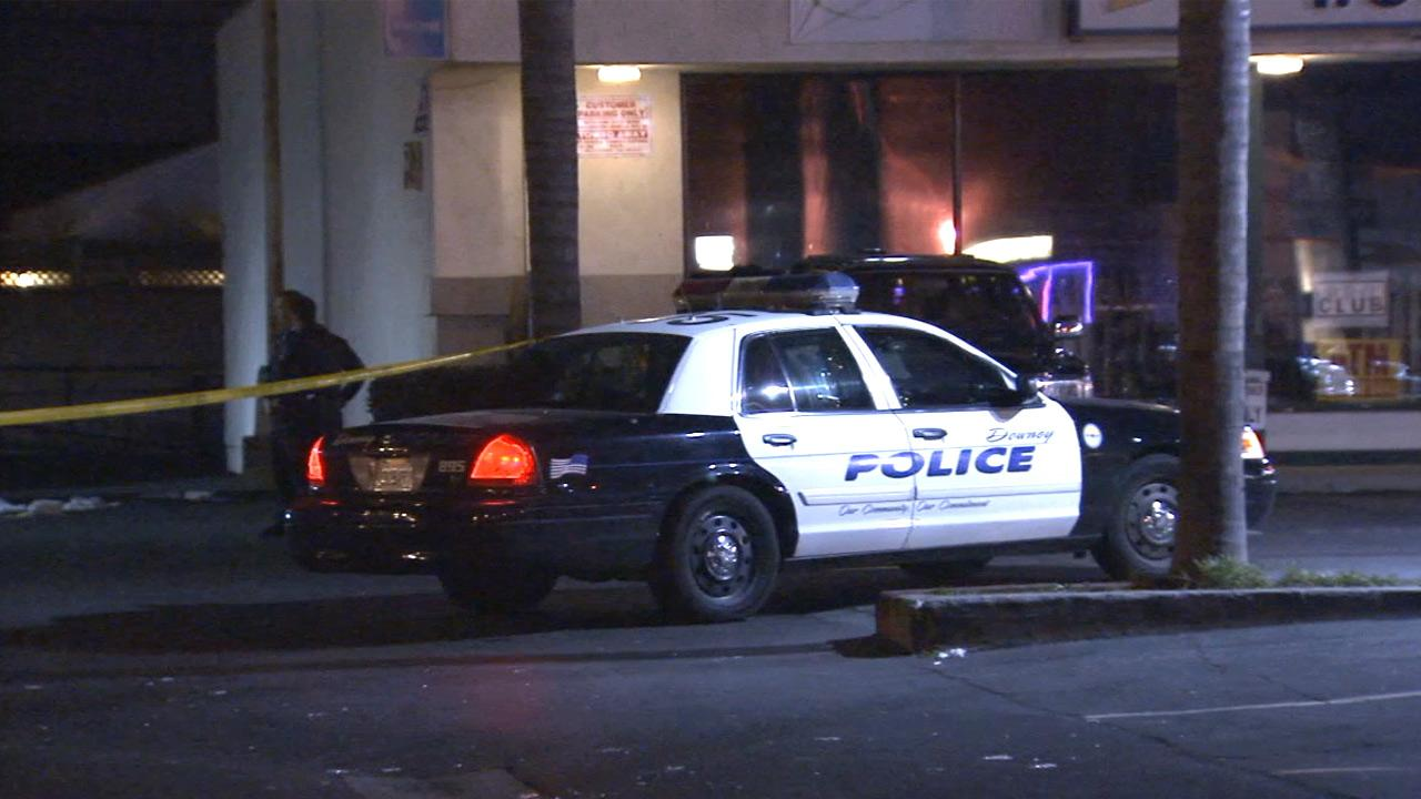 Homicide detectives were investigating the shooting of a person in the parking lot of Glorias Cocina Mexicana in Downey on Sunday, Jan. 20, 2013.