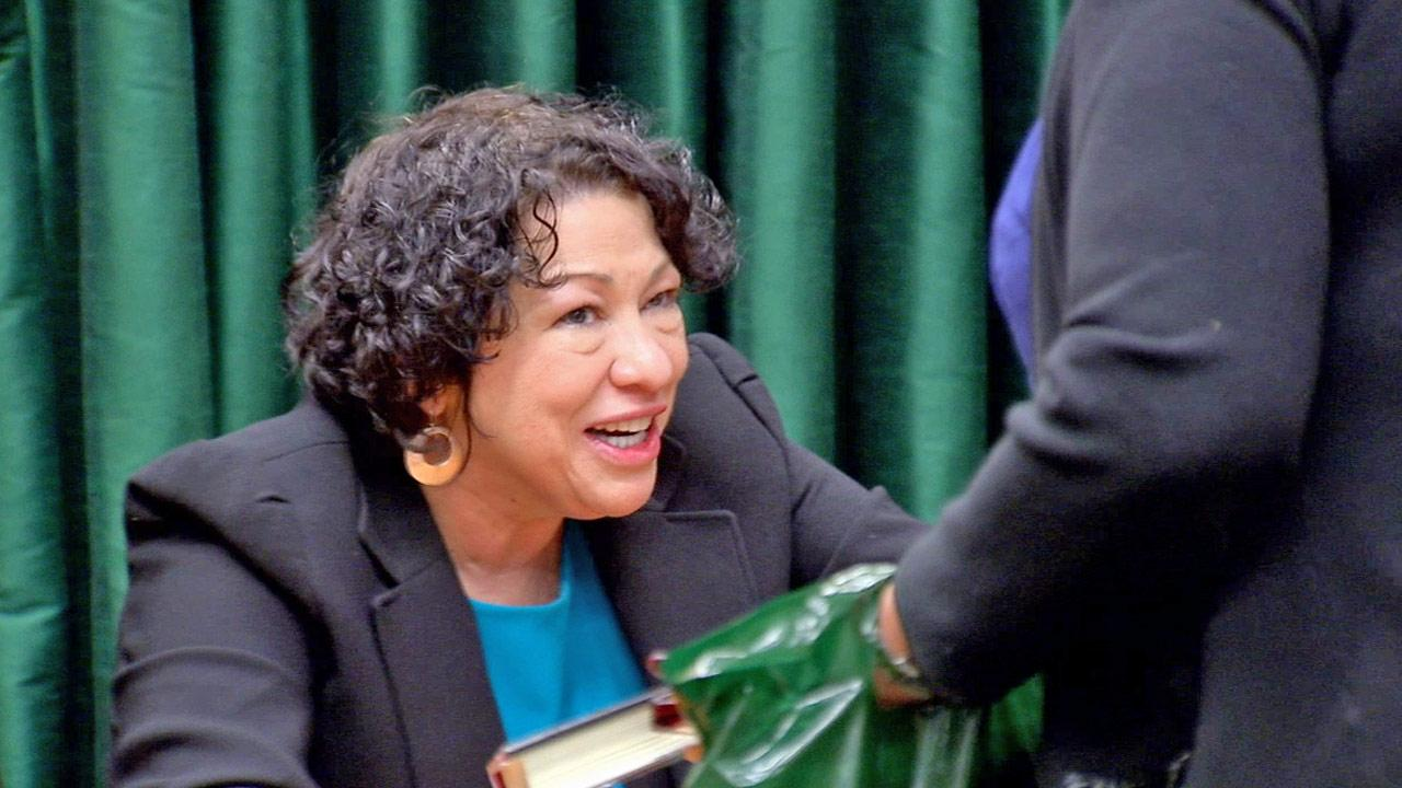 U.S. Supreme Court Justice Sonia Sotomayor is shown during a book signing for her autobiography, My Beloved World in Pasadena on Friday, Jan. 25, 2013.