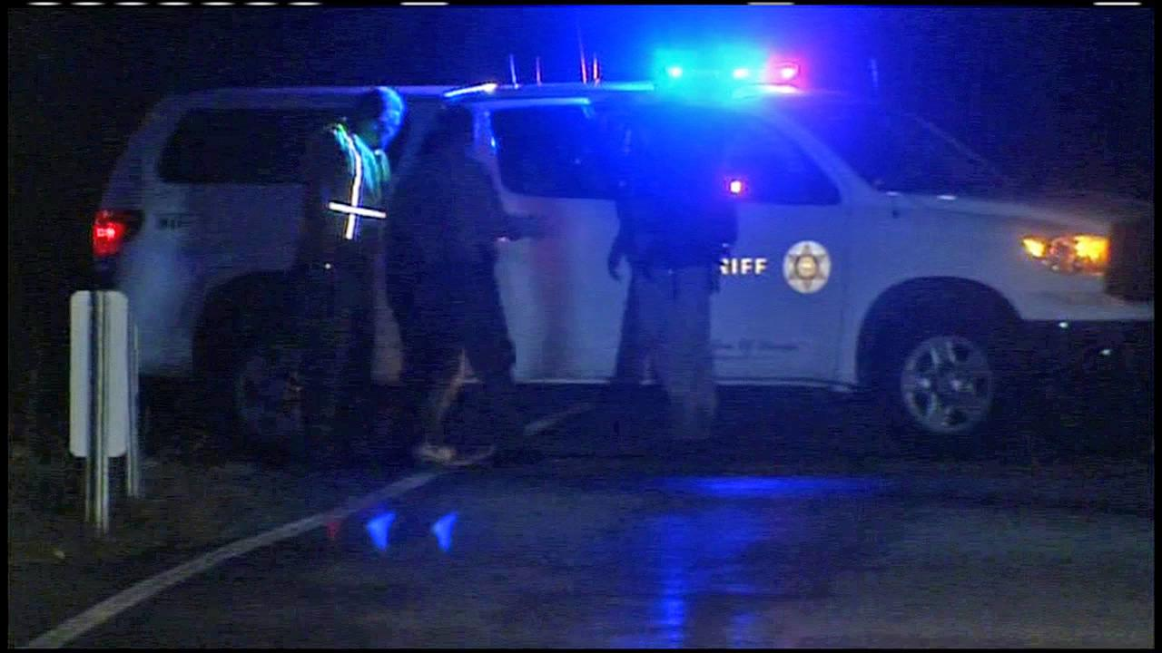 Authorities help hikers who got lost in Angeles National Forest on Sunday, Jan. 27, 2013.