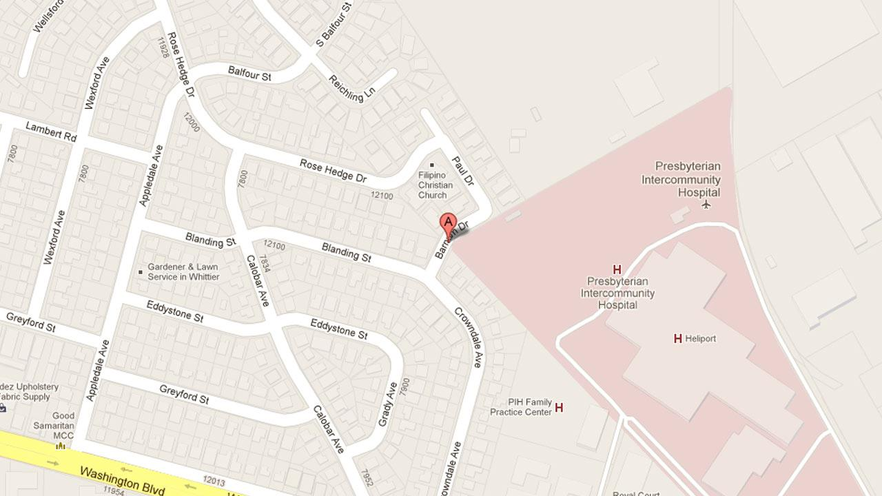 A map indicates the area near the 7800 block of Barnum Drive in Whittier where a man was shot to death on Friday, Feb. 1, 2013.