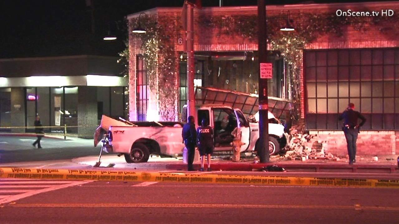 A suspected reckless driver evading police hit a bicyclist before crashing a pickup truck into Wurstkuche on Sunday, Feb. 10, 2013. The restaurant is located at 625 Lincoln Boulevard in Venice.