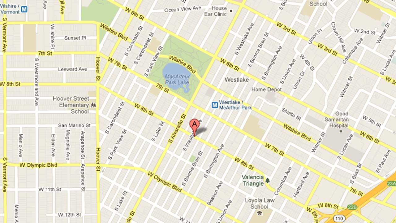 A map indicates the intersection of Westlake Avenue and Eighth Street in the Westlake district of Los Angeles where a man was critically injured by a hit-and-run driver on Friday, Feb. 15, 2013.