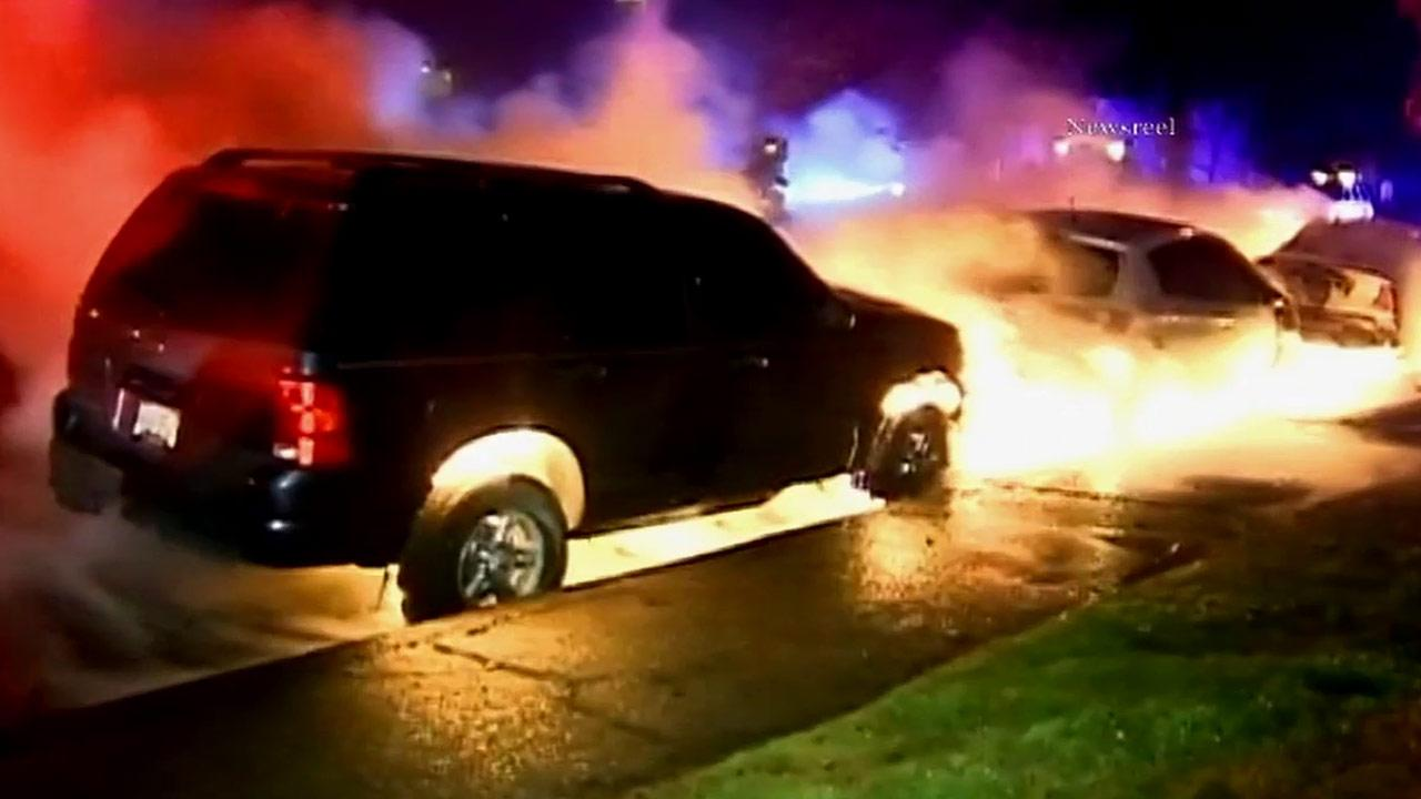 Three cars erupted into a ball of flames in the 5100 block of Tujunga Avenue in North Hollywood Wednesday, Feb. 20, 2013.
