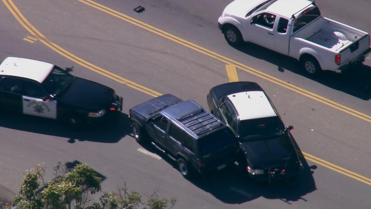 A high-speed police chase of a reported stolen vehicle ended in West Los Angeles after CHP officers performed a PIT maneuver on Wednesday, Feb. 20, 2013.