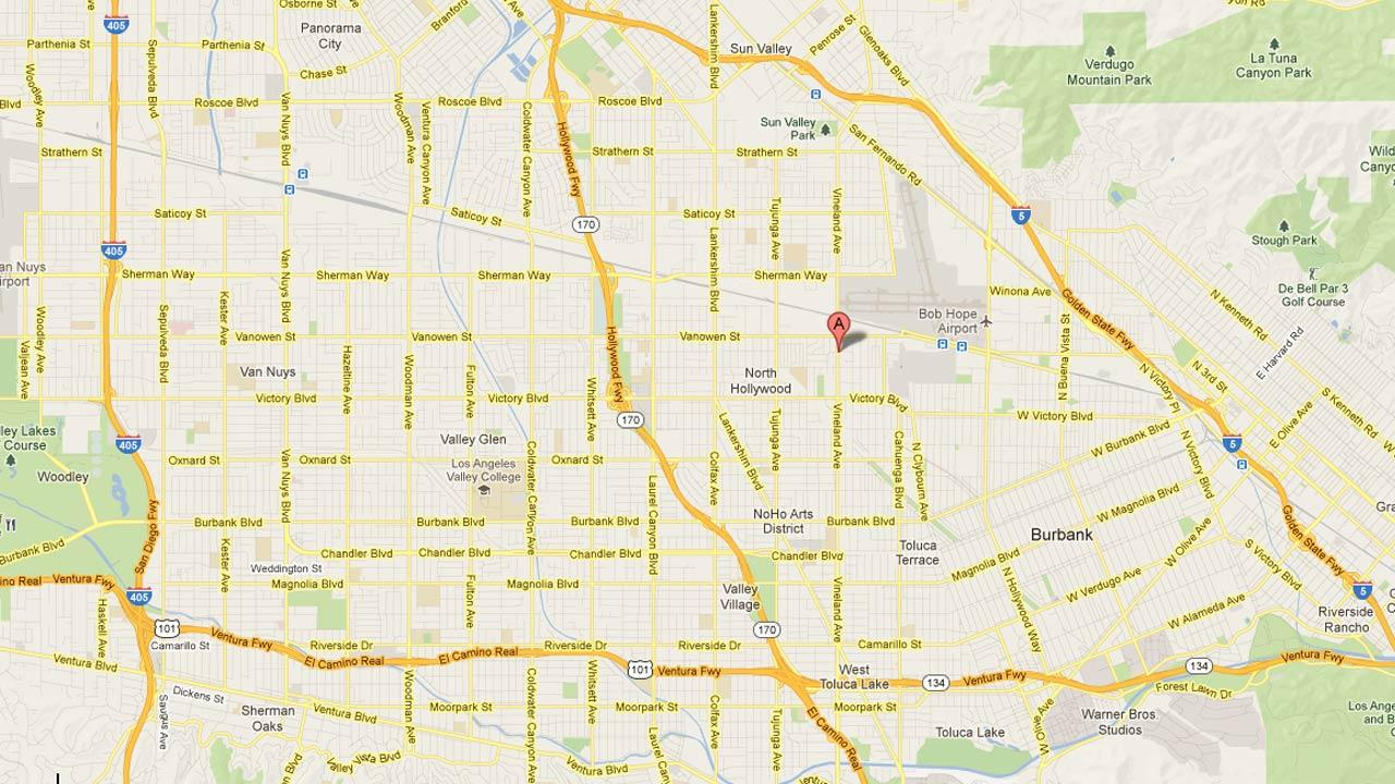 An LAPD officer-involved shooting happened near Vineland and Archwood in North Hollywood Sunday night, Feb. 24, 2013.