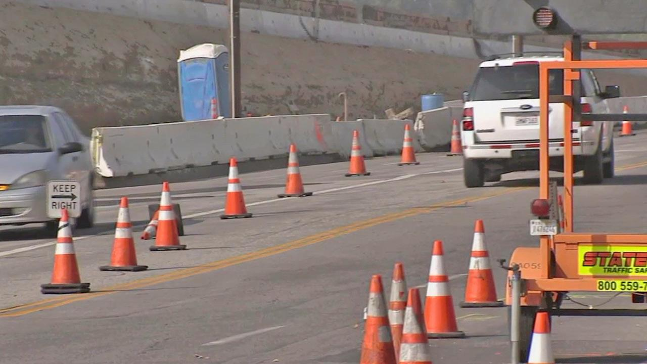 Construction cones are shown on the 405 Freeway during road work in this undated file photo.