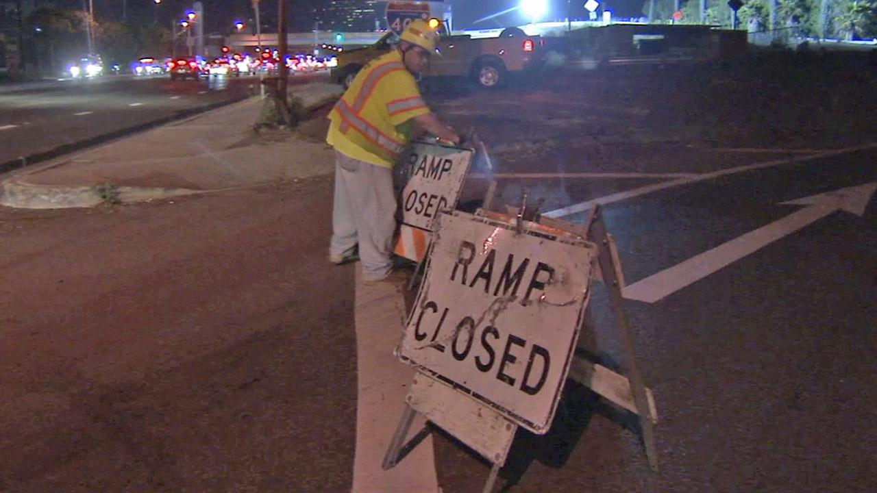 A ramp closure sign is shown in this undated file photo.