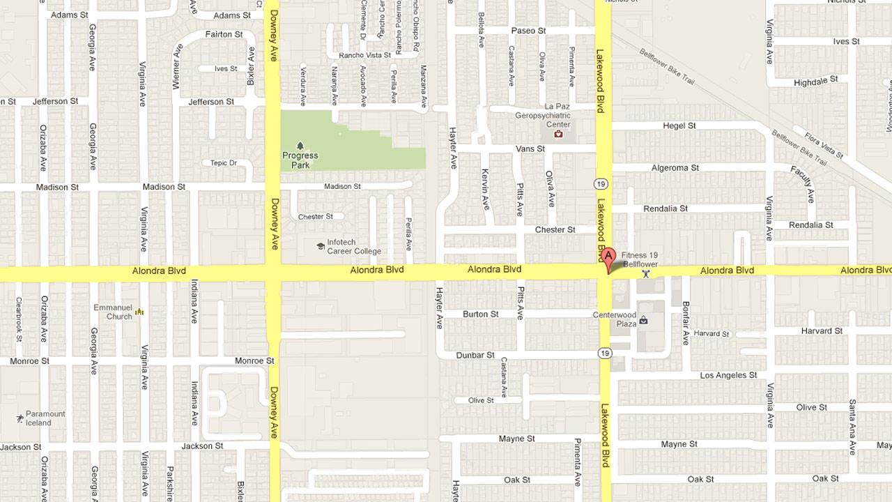A map indicates the location of a robbery in Bellflower where a shop clerk was beat with a crowbar in the 9000 block of Alondra Boulevard on Wednesday, March 13, 2013.