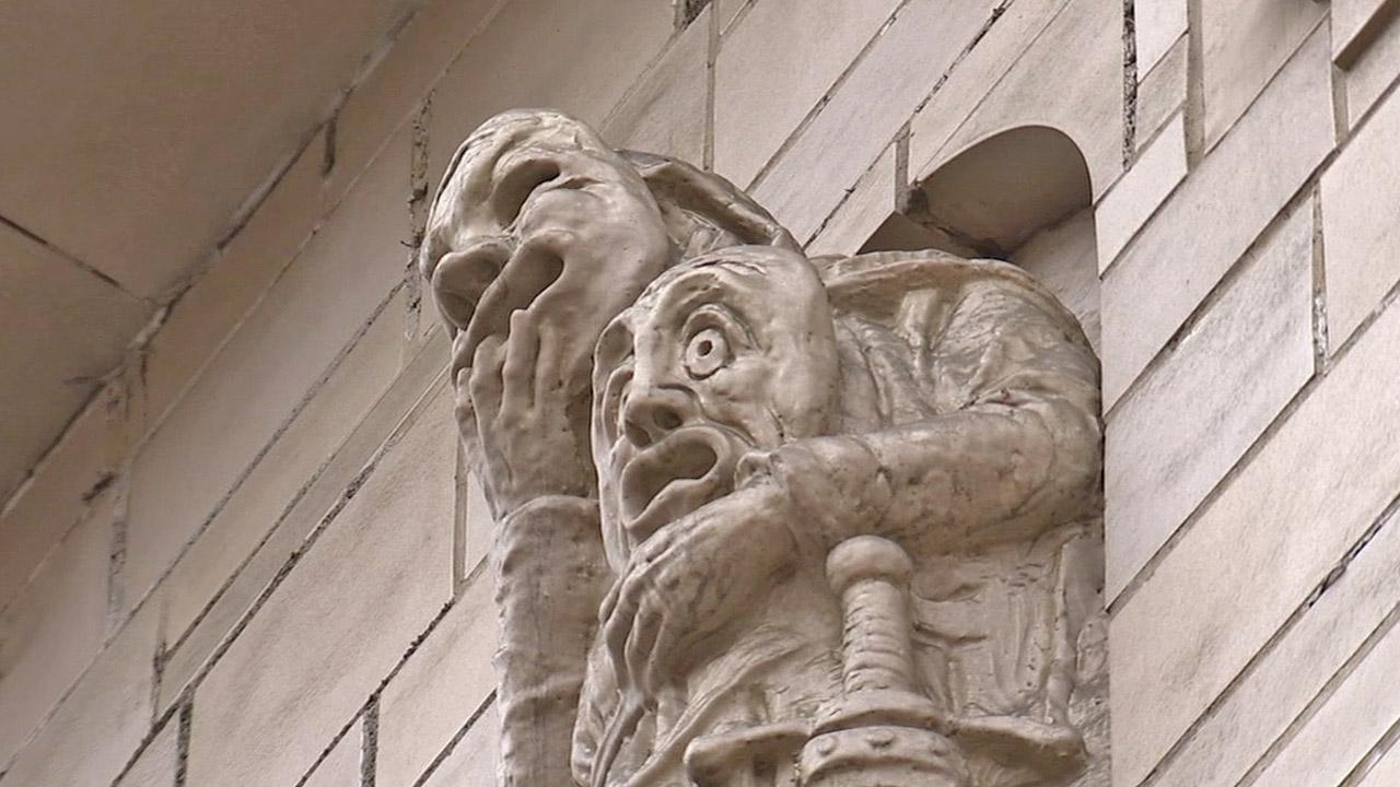 A wall statue at Graumans Million Dollar Theater is seen in this undate file photo.