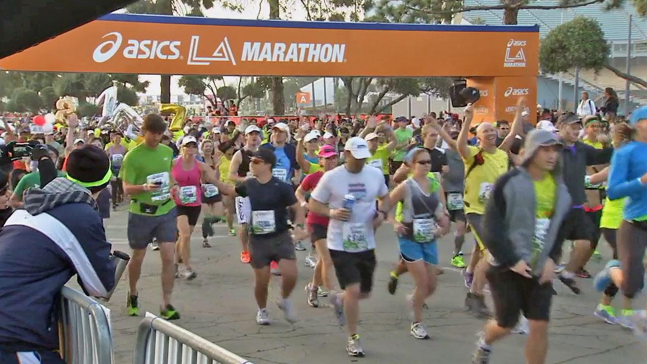 Runners participate in the 28th Los Angeles Marathon on Sunday, March 17, 2013.
