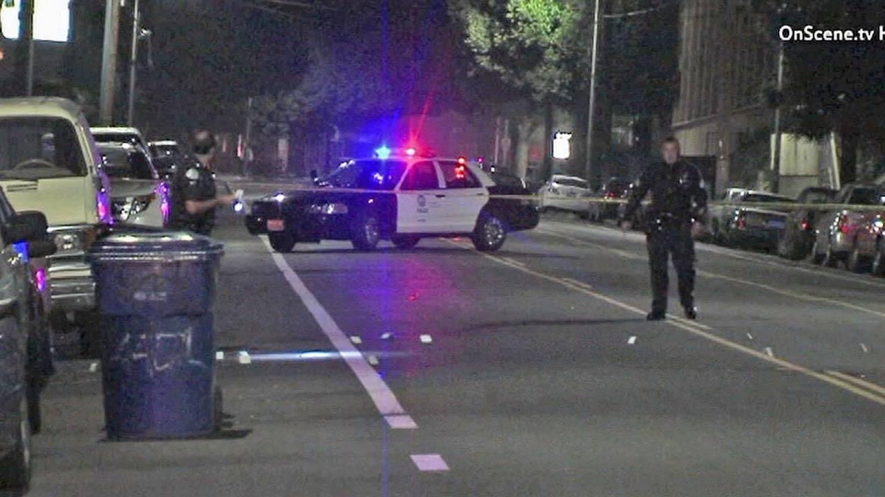 An investigation is under way in the 4500 block of Huntington Drive in El Sereno after two men were shot and wounded while standing in the front yard of a home during a party on Sunday, March 17, 2013.