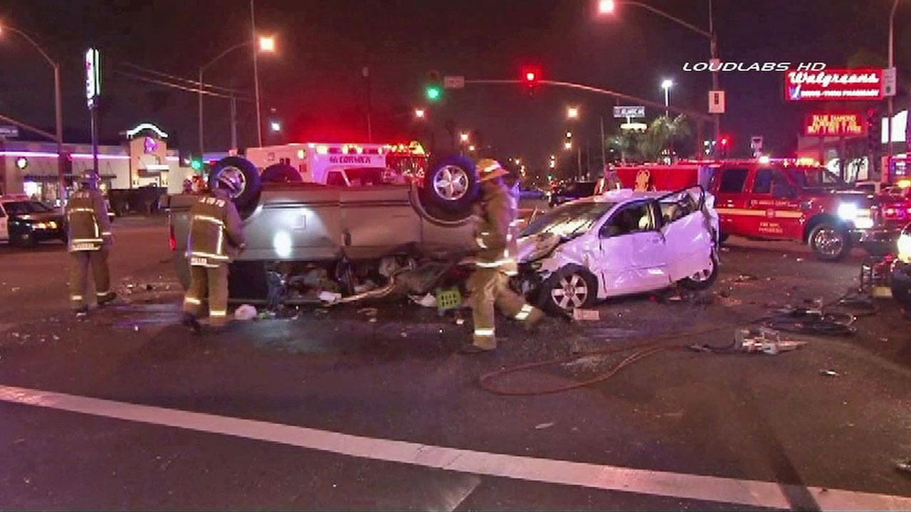A three-car collision at the intersection of Atlantic Avenue and Imperial Highway Monday night, March 18, 2013.