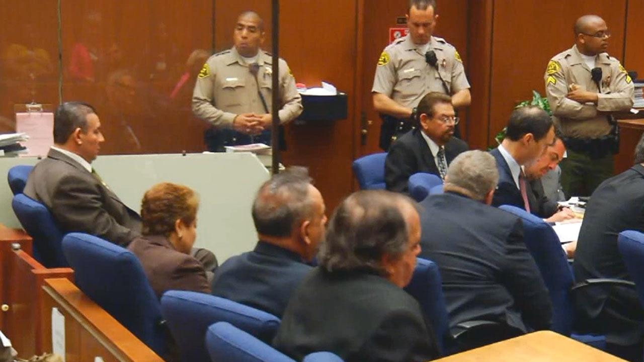 Former members of the Bell City Council appear in court on Wednesday, March 20, 2013.