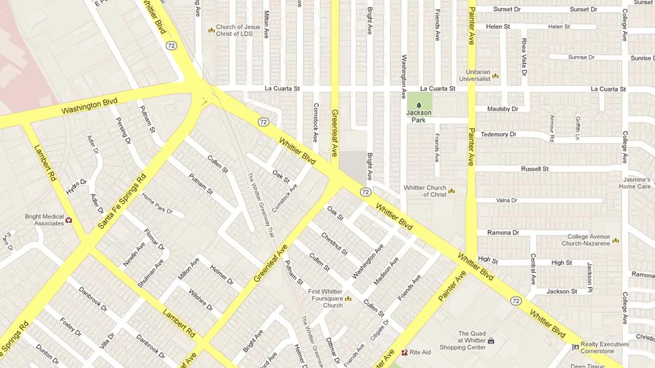 A map indicates the area near the Chevron gas station located on Whittier Boulevard and Greenleaf Avenue in Whittier were a thief made off with an automated teller machine on Saturday, March 30, 2013.
