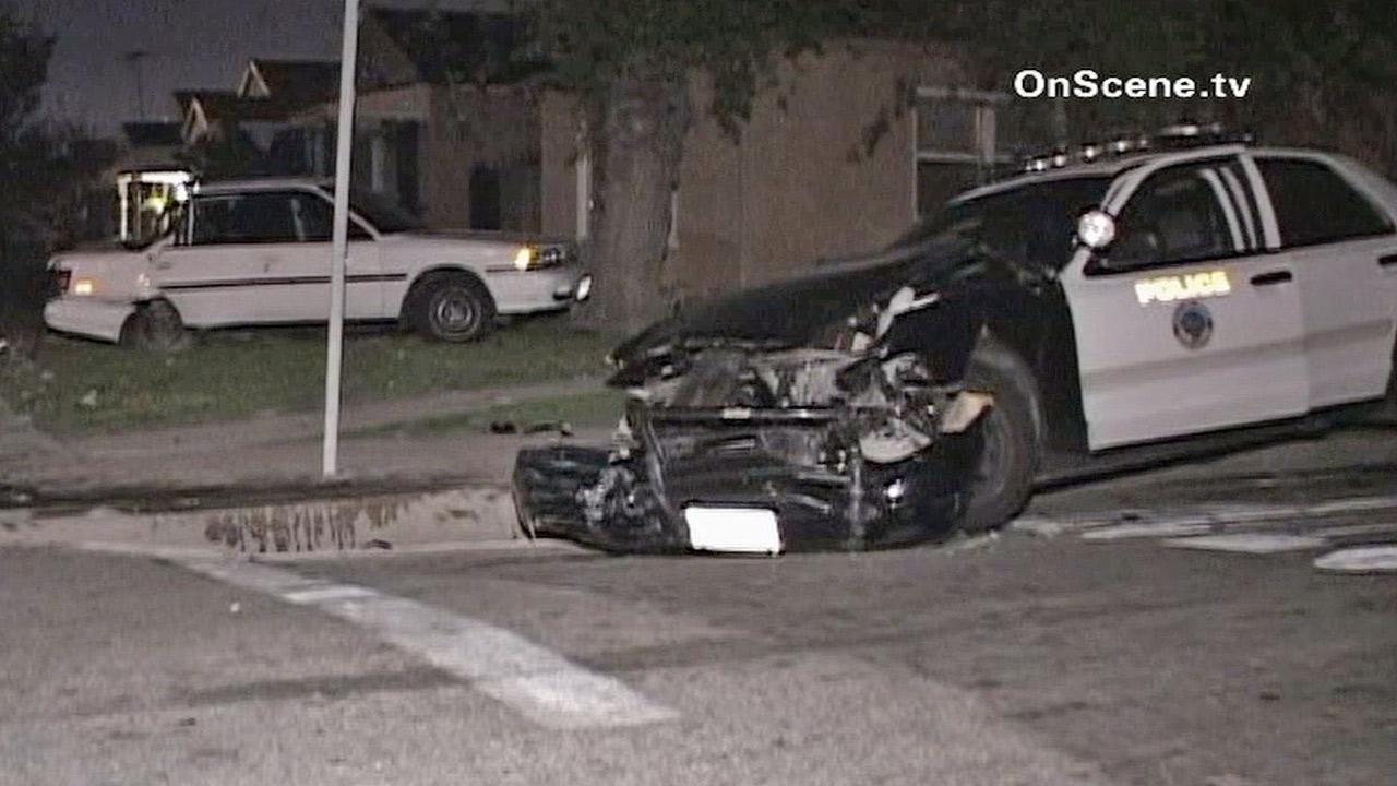 A driver slammed a stolen vehicle into a Long Beach police squad car early Monday, April 1, 2013.