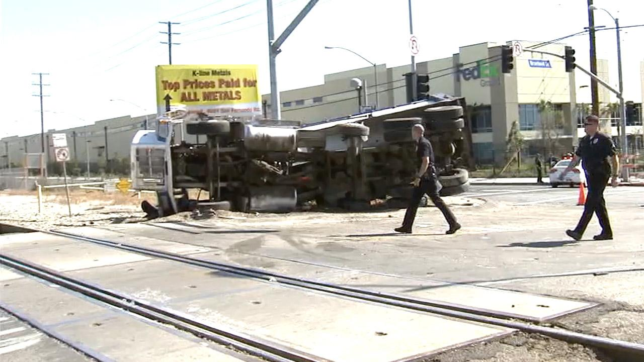 At least 13 people were hurt when a Metrolink train collided with a dump truck in Pacoima on Saturday, April 6, 2013.