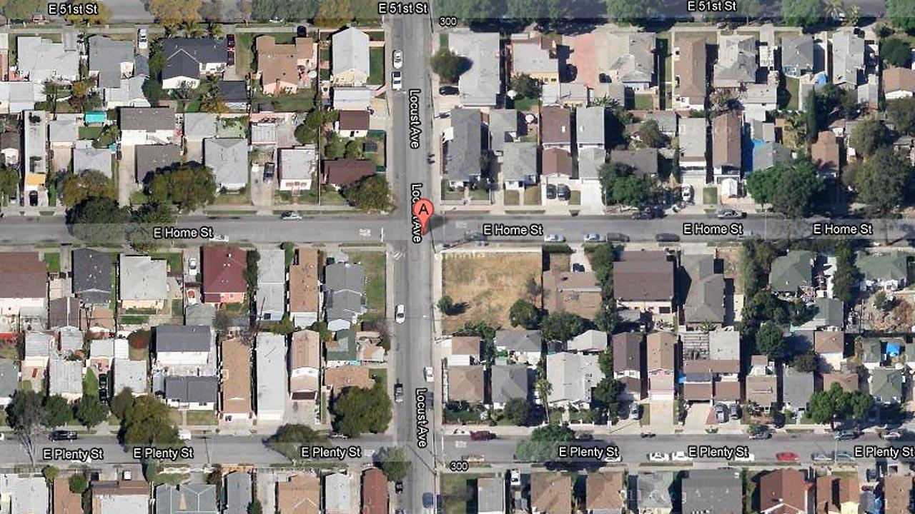 A map shows the 300 block of East Home Street in Long Beach, where one man was shot dead Sunday, April 7, 2013.