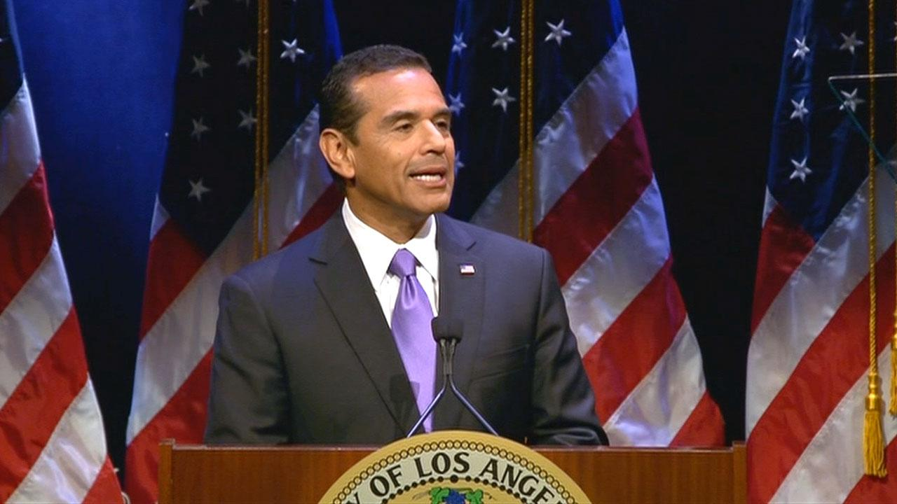 Los Angeles Mayor Antonio Villaraigosa delivers his final State of the City address at Royce Hall on the UCLA campus on Tuesday, April 9, 2013.