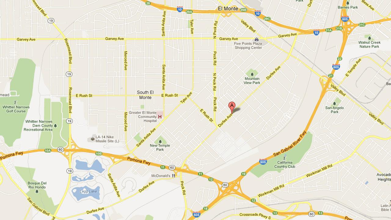 A map indicates the location of a hit-and-run crash involving a crossing guard in the intersection of Fineview Street and Durfee Avenue in El Monte on Tuesday, April 9, 2013.