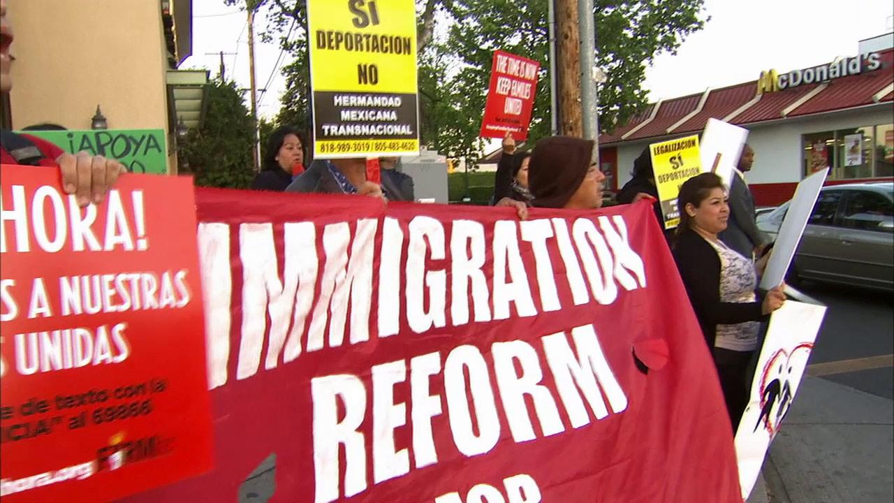 Demonstrators rally for immigration reform in Los Angeles on Wednesday, April 10, 2013.