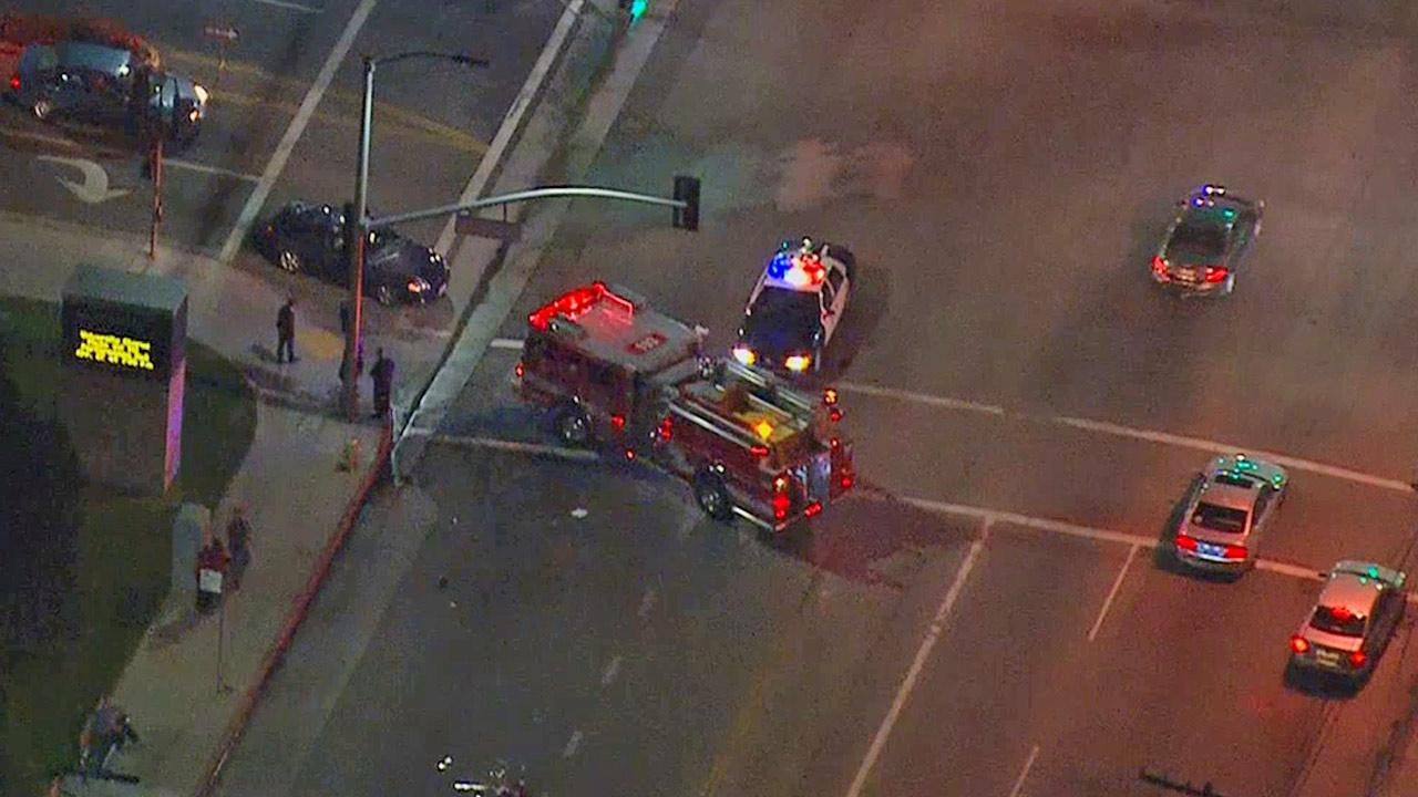 Emergency vehicles are shown at in the 9300 block of North Zelzah Avenue in Northridge, where two California State University, Northridge students were struck by car while in a crosswalk.