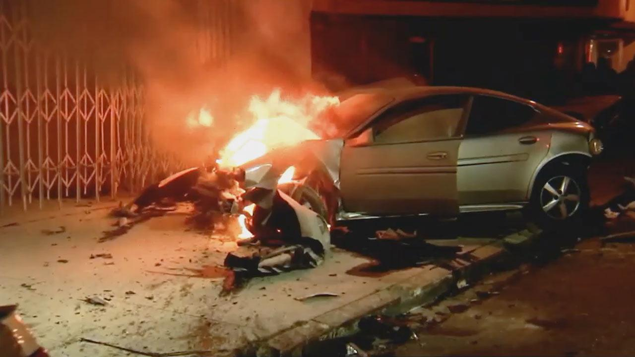 One person was killed and five others were injured in a road crash involving nine vehicles in South L.A. on Tuesday, April 30, 2013.