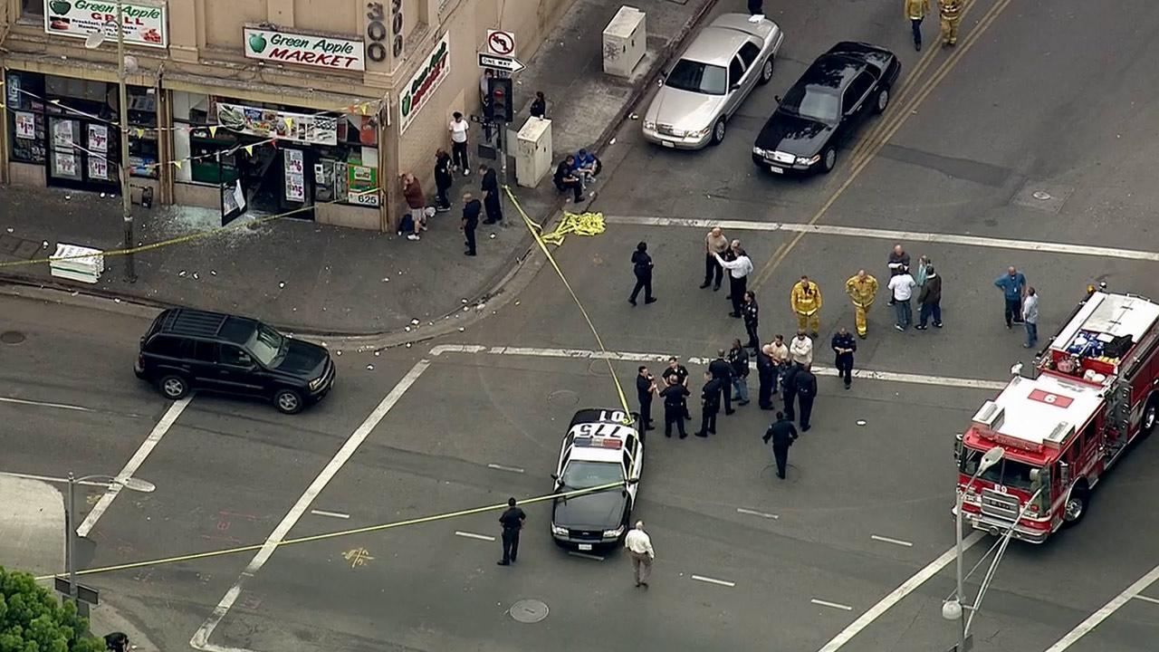 A robbery suspect was shot and killed by police near downtown Los Angeles Wednesday, May 1, 2013.