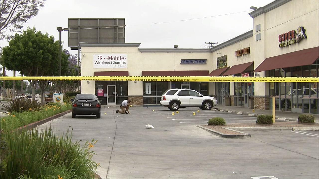 A shooting at a strip mall on the 500 block of Long Beach Boulevard in Compton left one man dead and another man injured on Sunday, May 5, 2013.
