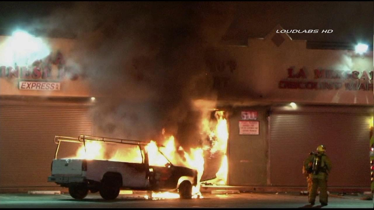 Firefighters were called to a strip mall on the intersection of Santa Fe Avenue and Pine Street in Compton on Tuesday, May 7, 2013.