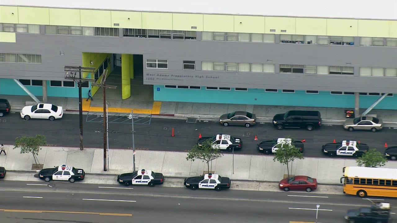 Police respond to West Adams Prep High School in Los Angeles on Thursday, May 16, 2013.