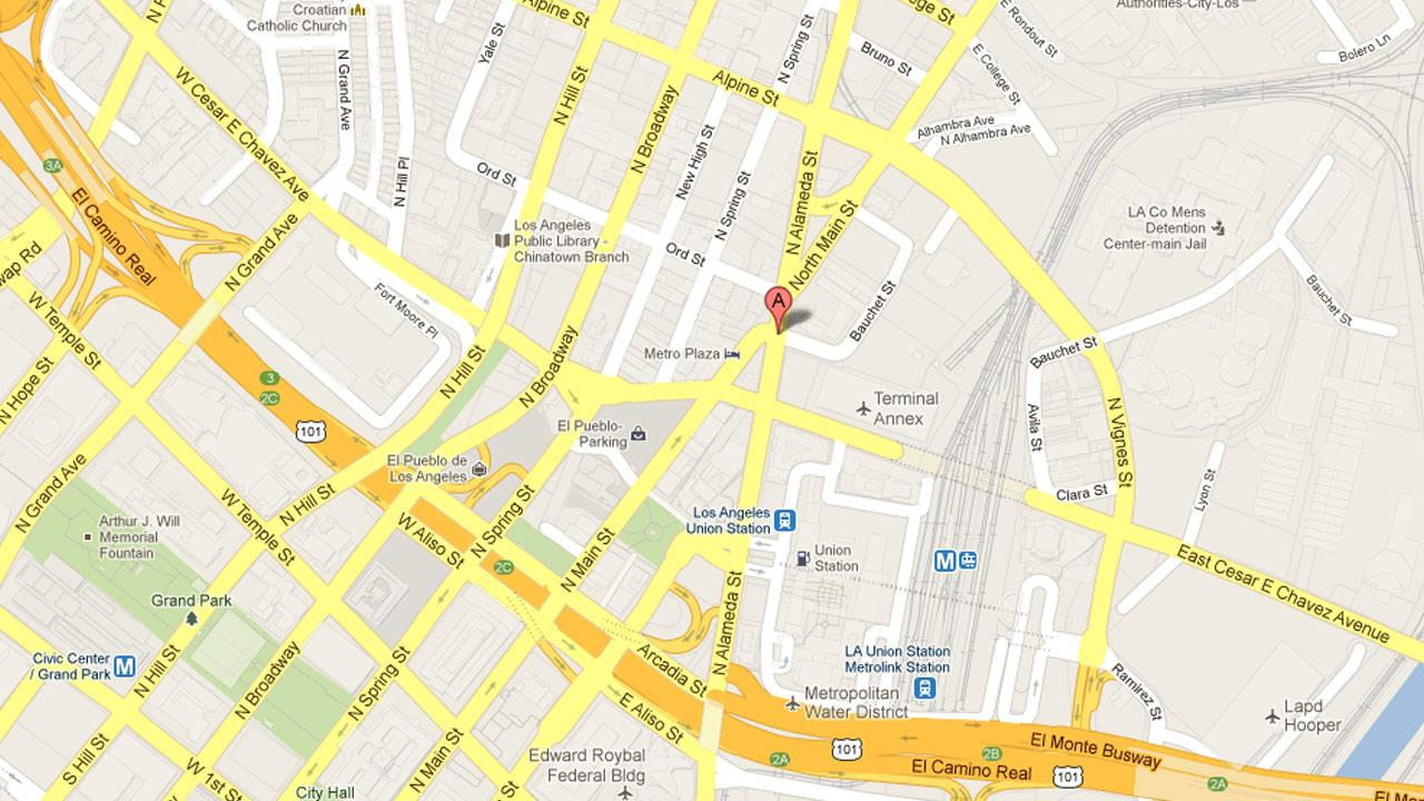 A map indicates the approximate location of a shooting in downtown Los Angeles, where a cars back window was shot out on Thursday, May 16, 2013.
