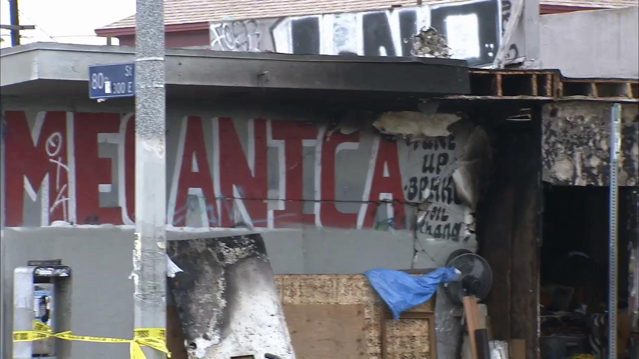 A man was killed when a fire broke out inside an automotive repair firm on the 8000 block of South San Pedro Street in South Los Angeles Sunday, June 16, 2013.