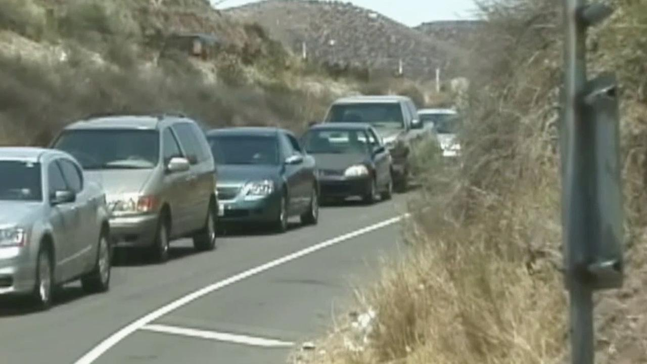A fatal crash on the side of the northbound 14 Freeway at Agua Dulce Canyon Road in Agua Dulce caused a major traffic backup on Saturday, June 29, 2013.