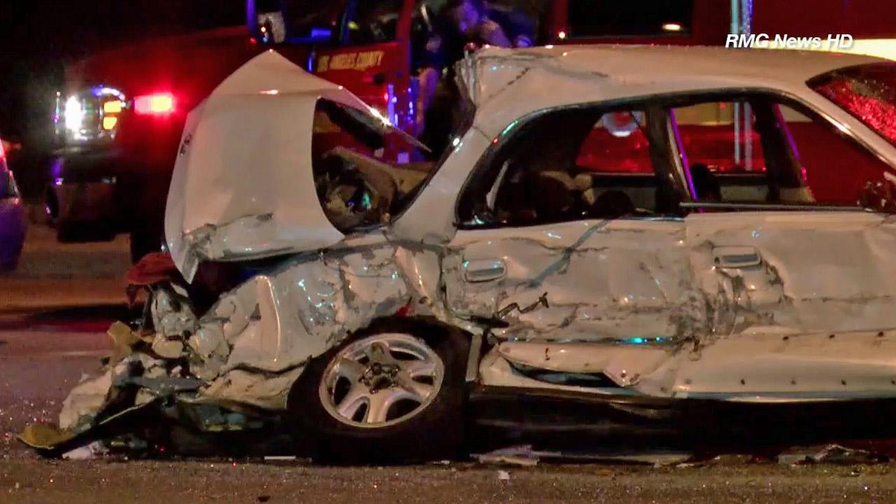A 4-year-old girl was killed and several others injured in a multi-vehicle accident at Citrus Avenue and Gladstone Street in Azusa Monday, July 15, 2013.
