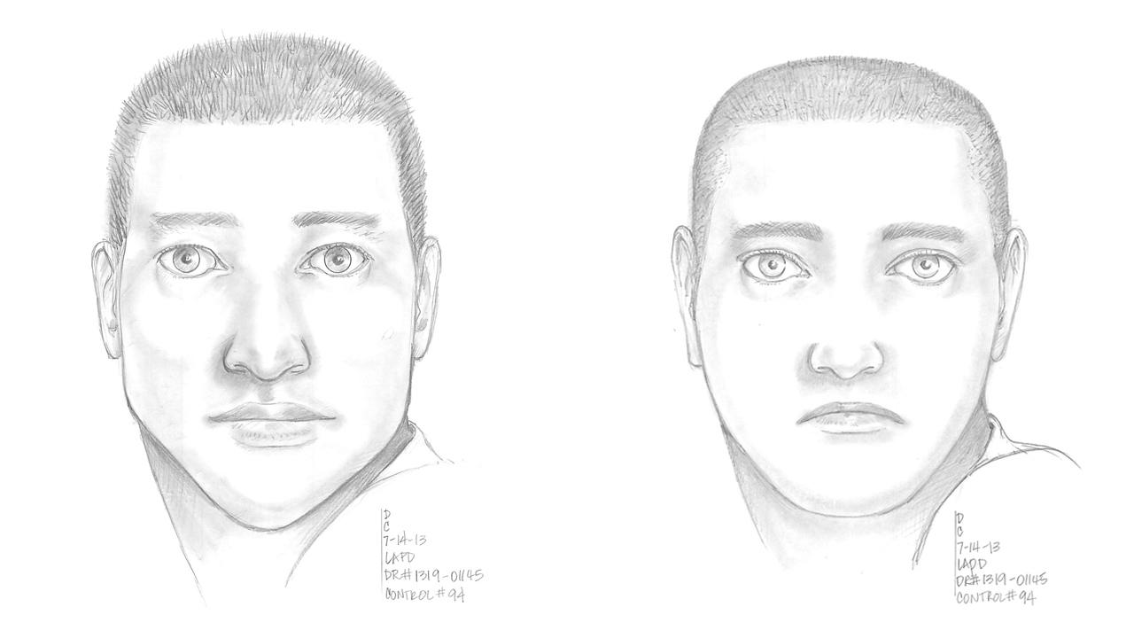 Police sketches of a man suspected of fatally shooting another driver in Arleta traffic on Saturday, July 13, 2013.