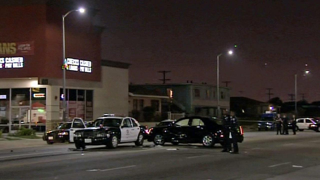 Three people were injured including two Los Angeles police officers following crash on the 11000 block of South Avalon Boulevard in South Los Angeles Friday, July 19, 2013.