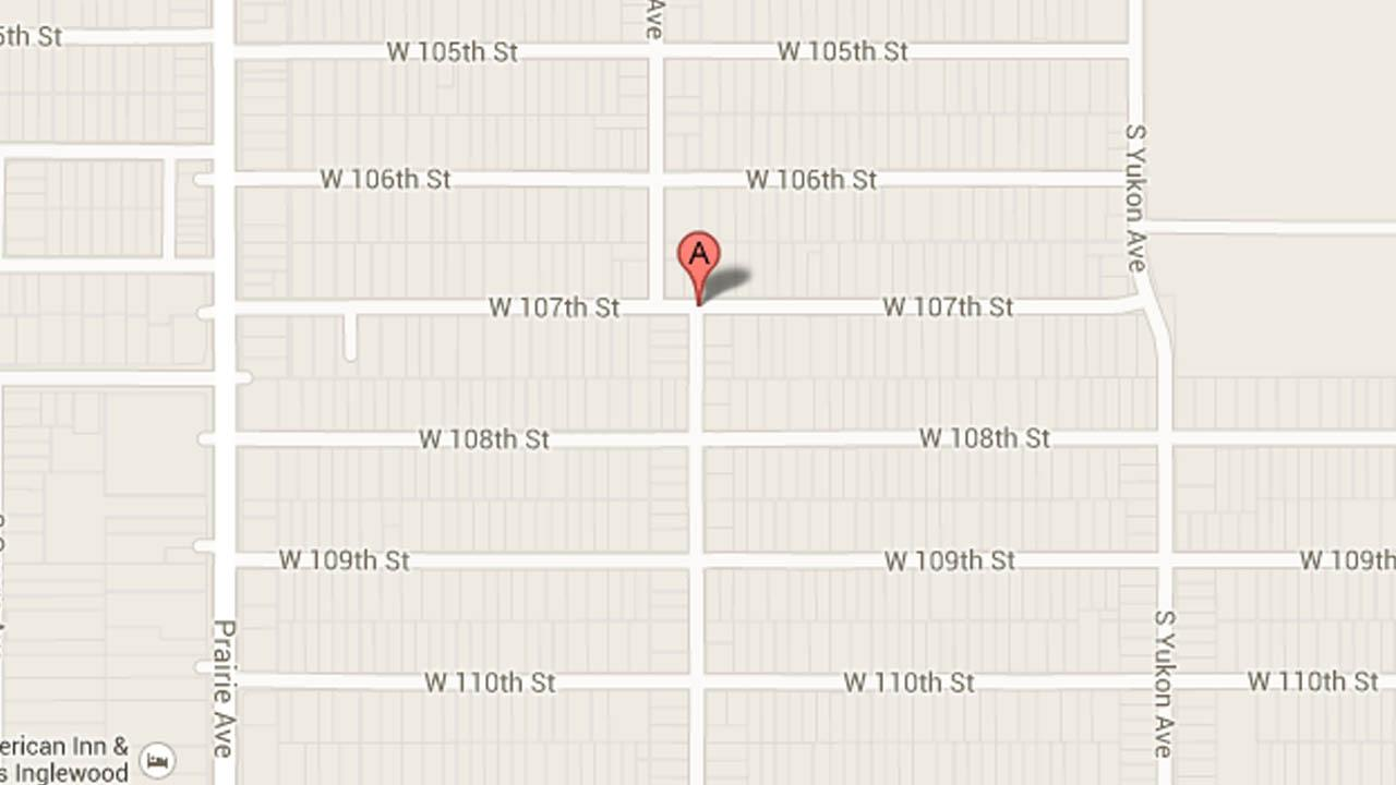 A map indicates the area around 107th Street and Doty Avenue in Inglewood, Calif., where police believe two men were shot on Tuesday, July 23, 2013.