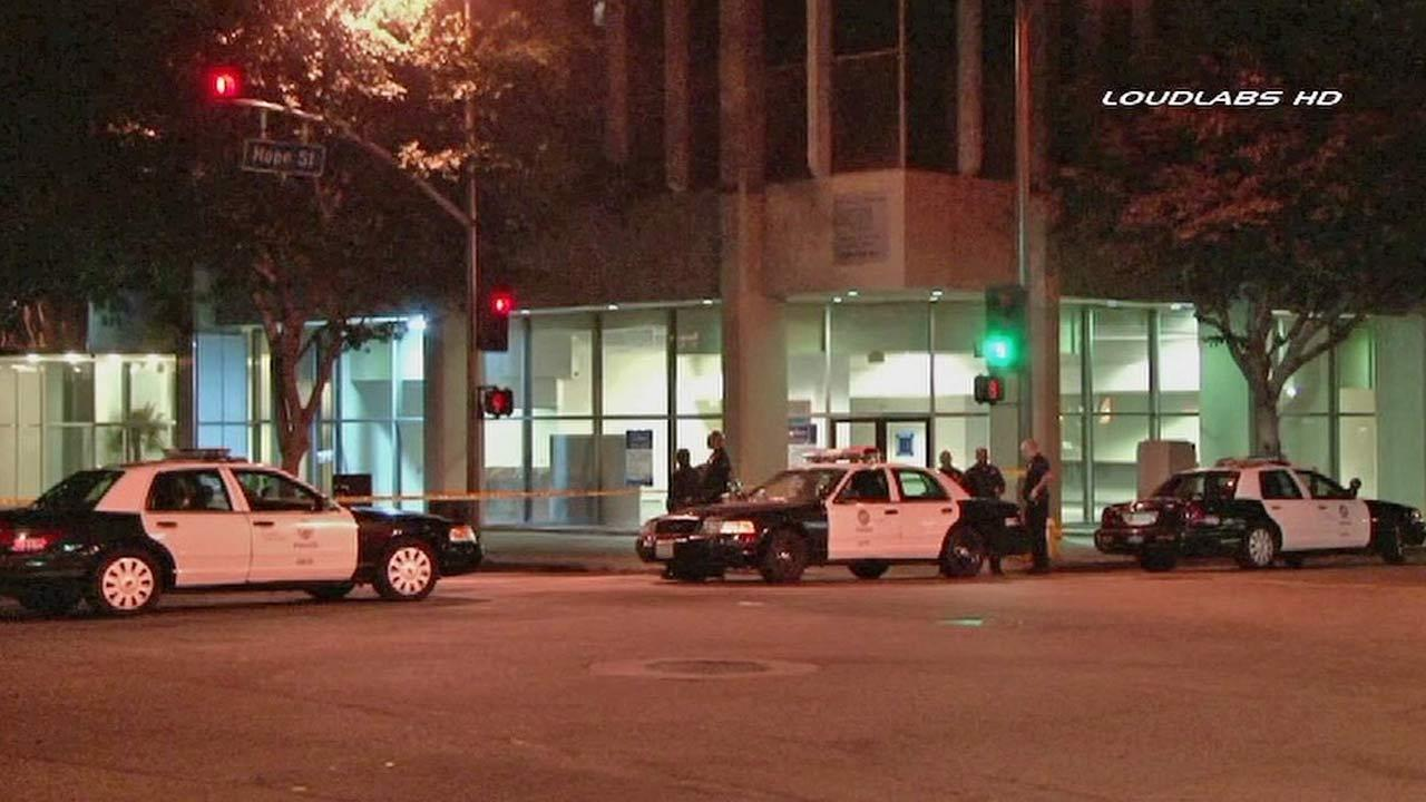 A man was fatally stabbed following a dispute with another man near the Wilshire Boulevard and Grand Avenue in downtown Los Angeles Saturday, Aug. 17, 2013.