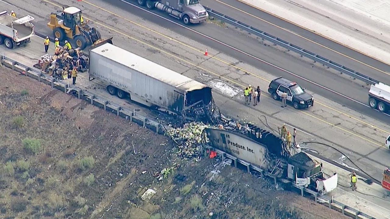 A semi-truck driver died after the vehicle caught fire on the southbound 5 Freeway in the Gorman area on Tuesday, Aug. 27, 2013.