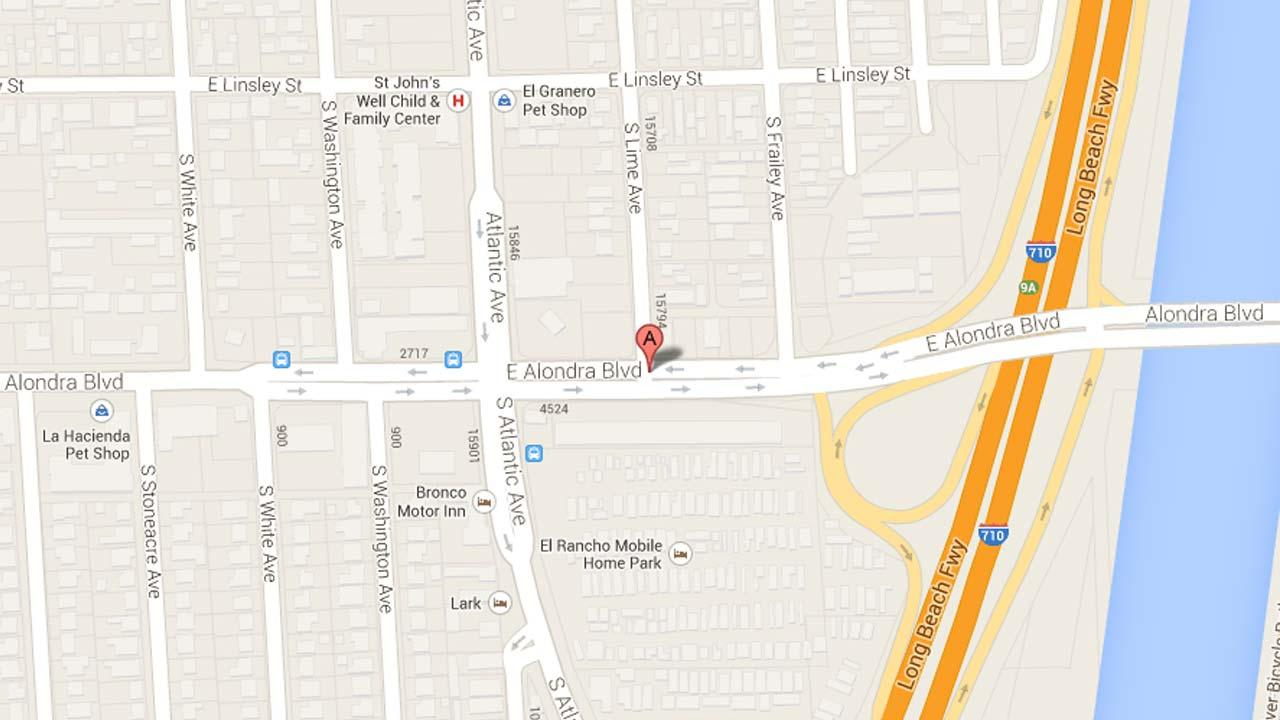 A map indicates the area near the 4600 block of Alondra Boulevard where a man was fatally stabbed on Sunday, Sept. 1, 2013.