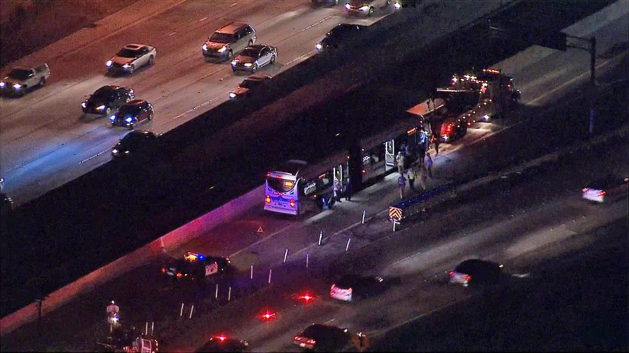 A Foothill Transit bus named the Silver Streak crashed into a divider on the 10 Freeway in Alhambra on Tuesday, Sept.10, 2013.
