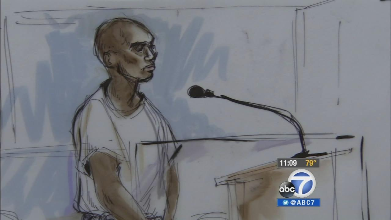 Nna Alpha Onuoha, 29, appears before a judge on Wednesday, Sept. 11, 2013, in this courtroom sketch.