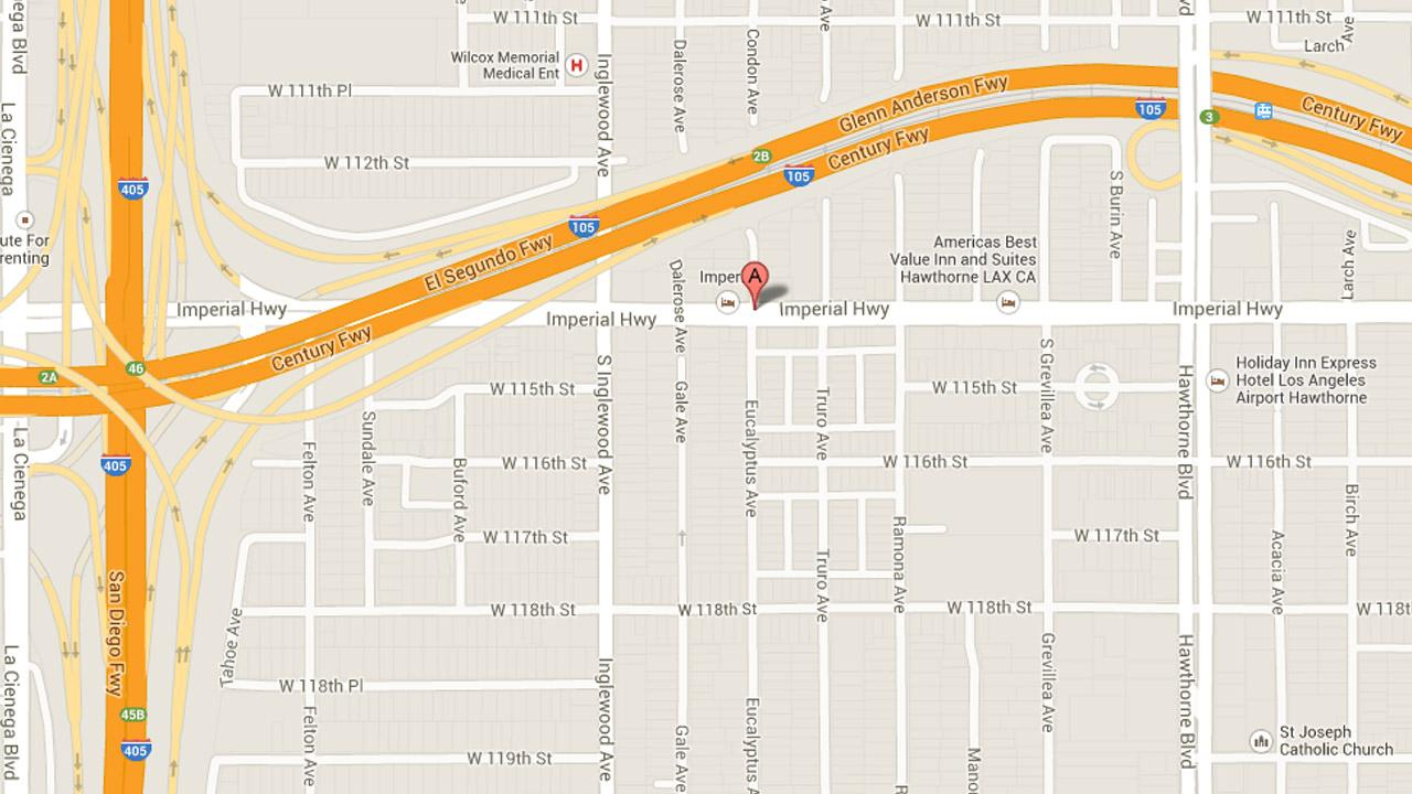 A screen shot from Google Maps shows the location of a possible hazardous gas leak in Hawthorne.