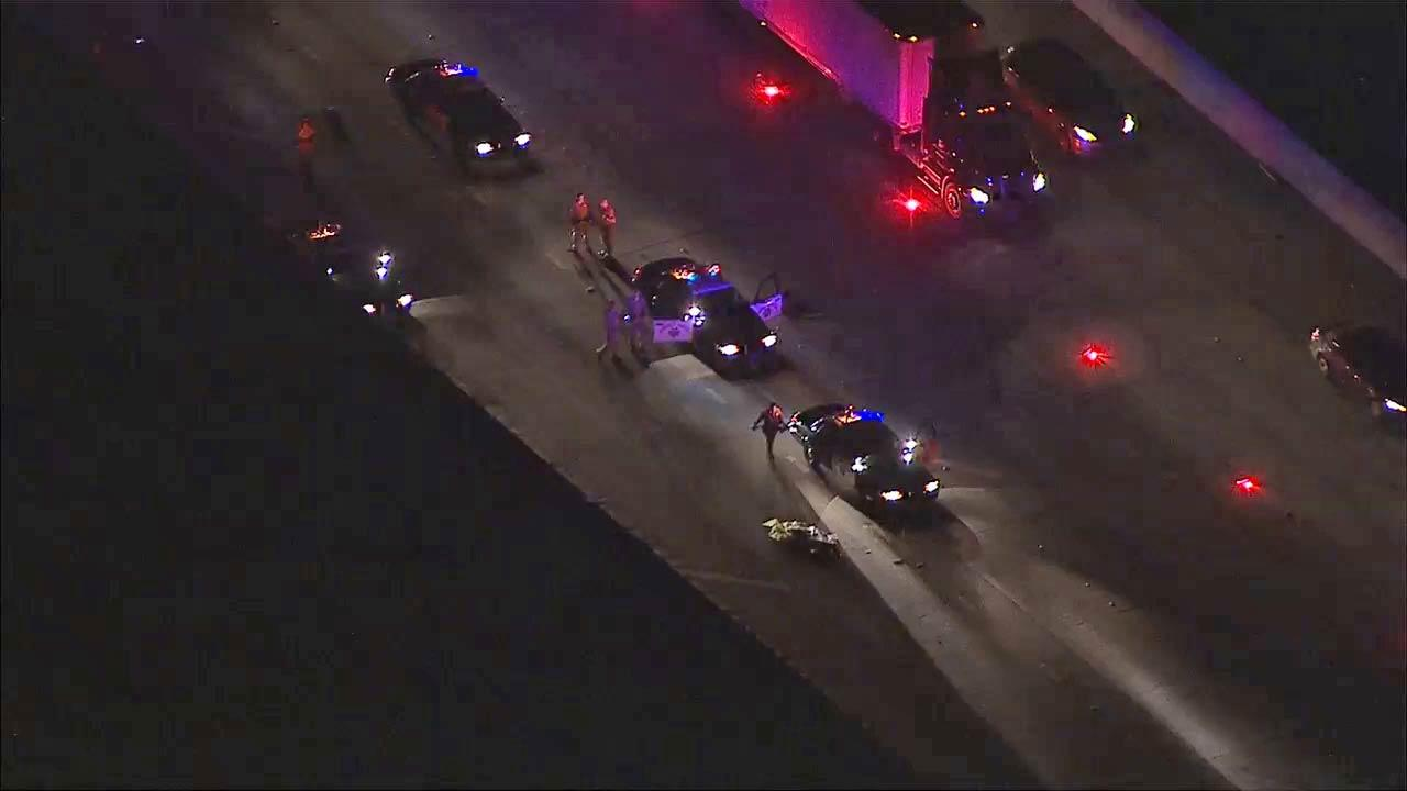 A man was struck and killed while trying to cross the 60 Freeway in the city of Industry after his car broke down Friday, Sept. 14, 2013.