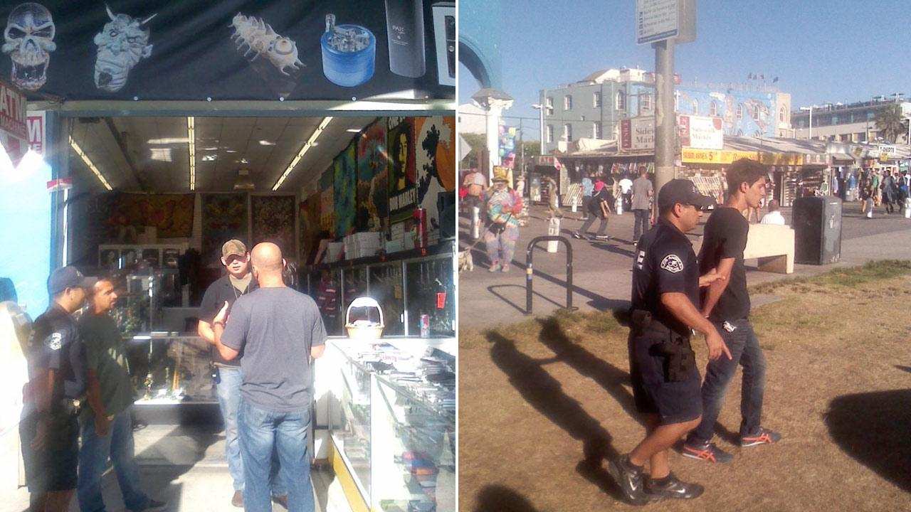 (Left) Los Angeles police officers speak to a vendor in Venice. (Right) A man is taken into custody by Los Angeles police during a sweep of counterfeit goods along the Venice Boardwalk.