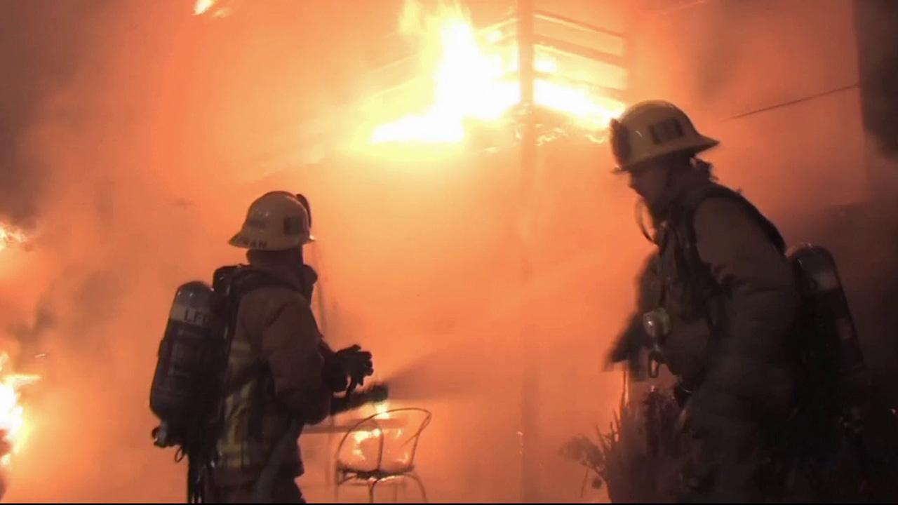 A building on the 13000 block of Ventura Boulevard caught fire on Wednesday, Sept. 25, 2013.