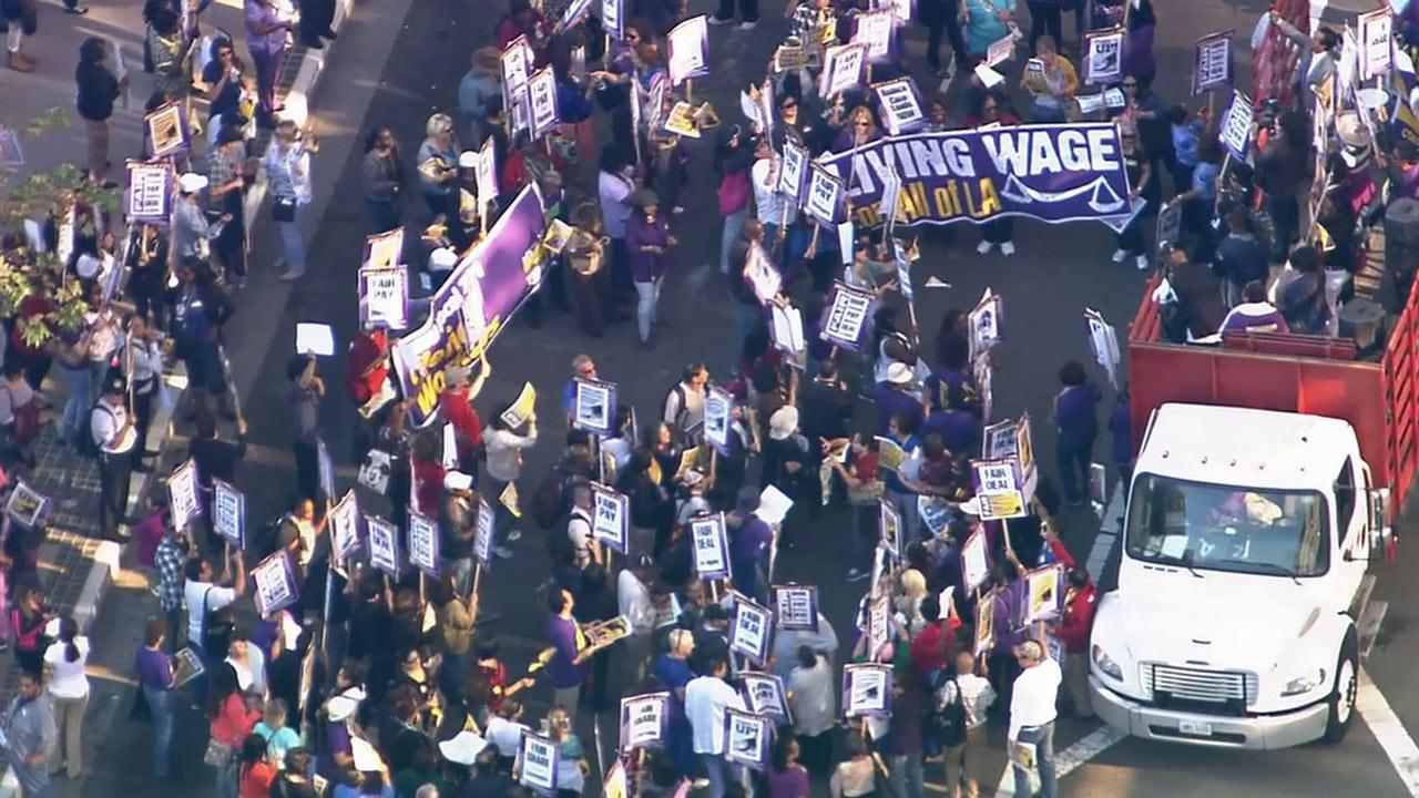 Thousands of Los Angeles County union workers walked off the job to demand higher wages on Tuesday, Oct. 1, 2013.